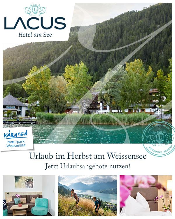 LACUS - Hotel am See   Urlaub Herbst Luxushotel Weissensee Kärnten